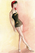 Retro Metal Prints - Brown Vintage Bathing Suit 2 Fashion Illustration Art Print Metal Print by Beverly Brown Prints