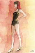 Style Prints - Brown Vintage Bathing Suit 3 Fashion Illustration Art Print Print by Beverly Brown Prints