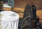 Wicker Chair Prints - Brown Wicker Chair and Guitar Case by Ann Marie Fitzsimmons Print by Sheldon Kralstein
