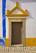 Medieval Entrance Posters - Brown Wood Door Of Obidos Poster by David Letts