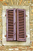 Italian Village Prints - Brown Wood Shutters on an Exposed Brick Wall in Tuscany Print by David Letts