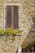 Weathered Shutters Framed Prints - Brown Wood Window Shutters with Flowers in a Medieval Village in Tuscany Framed Print by David Letts