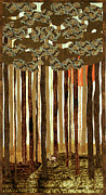 Woods Tapestries - Textiles Framed Prints - Brown Woods Framed Print by Jean Baardsen