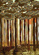 Deer Tapestries - Textiles - Brown Woods with Deer by Jean Baardsen