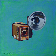 Camera Paintings - Brownie Box Camera by The Vintage Painter