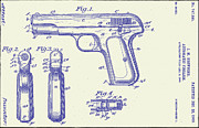 Gun Drawings Posters - Browning Automatic Patent Poster by Bill Cannon