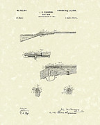 Action Drawings Prints - Browning Bolt Gun 1899 Patent Art Print by Prior Art Design