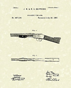 Fire Arm Posters - Browning Fire Arm 1887 Patent Art Poster by Prior Art Design