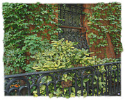 Lots Of Leaves Prints - Brownstone Garden 3 Print by Muriel Levison Goodwin