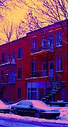 Verdun Winter Scenes Prints - Brownstones In Winter 6 Print by Carole Spandau