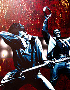E Street Band Painting Originals - Bruce and Clarence by Bobby Zeik