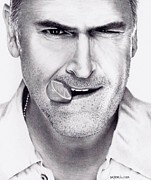 Axe Posters - Bruce Campbell as Sam Axe Poster by Rick Fortson