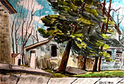 Old Houses Painting Metal Prints - Bruce Metal Print by Charlie Spear