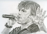 Singer Drawings - Bruce Dickinson by Eva Ason