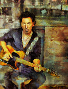 Bruce Springsteen Mixed Media Prints - Bruce Print by Janice MacLellan