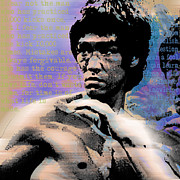 Athlete Mixed Media Prints - Bruce Lee and Quotes Square Print by Tony Rubino