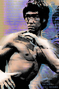 Film Mixed Media Metal Prints - Bruce Lee and Quotes Metal Print by Tony Rubino