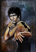 Hong Kong Digital Art Metal Prints - Bruce Lee  Metal Print by Andrzej  Szczerski