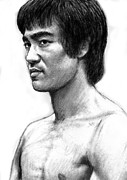 Bruce Art Prints - Bruce lee art drawing sketch portrait Print by Kim Wang