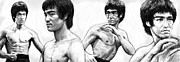 Chinese American Drawings - Bruce Lee art drawing sketch poster by Kim Wang