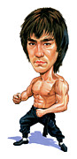 Caricatures Paintings - Bruce Lee by Art