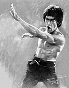 Martial Arts Framed Prints - Bruce Lee Framed Print by Viola El