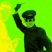 Fight Digital Art - Bruce Lee Kato and The Green Hornet - square p54 by Wingsdomain Art and Photography
