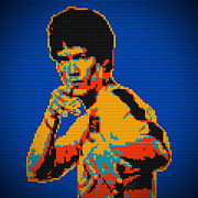 Bruce Lee Lego Pop Art Digital Painting Print by Georgeta Blanaru