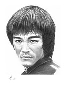 Famous People Drawings - Bruce Lee by Murphy Elliott