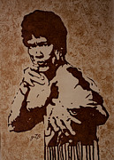 Bruce Lee Original Coffee Painting Print by Georgeta Blanaru