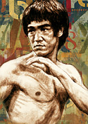 Film Star Mixed Media Prints - Bruce Lee - stylised pop art drawing portrait poster  Print by Kim Wang