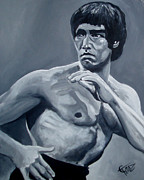 Bruce Painting Originals - Bruce Lee by Tom Carlton