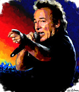 Bruce Springsteen Painting Framed Prints - Bruce Springsteen Framed Print by Allen Glass