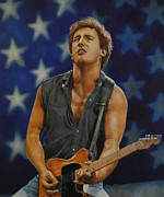 Bruce Painting Originals - Bruce Springsteen born in the USA by David Dunne