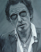 Bruce Springsteen Painting Framed Prints - Bruce Springsteen III Framed Print by David Dunne