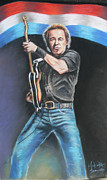Wrecking Ball Painting Framed Prints - Bruce Springsteen  Framed Print by Melinda Saminski