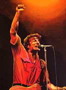 Bruce Painting Metal Prints - Bruce Springsteen Metal Print by Paul  Meijering