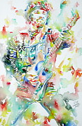 On Stage Posters - BRUCE SPRINGSTEEN PLAYING the GUITAR WATERCOLOR PORTRAIT Poster by Fabrizio Cassetta