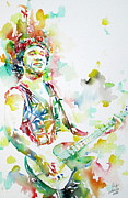 Bruce Springsteen Painting Prints - BRUCE SPRINGSTEEN PLAYING the GUITAR WATERCOLOR PORTRAIT.2 Print by Fabrizio Cassetta