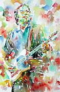 Springsteen Painting Posters - BRUCE SPRINGSTEEN PLAYING the GUITAR WATERCOLOR PORTRAIT.3 Poster by Fabrizio Cassetta