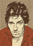 Rock N Roll Posters - Bruce Springsteen Pop Art Poster by Jim Zahniser