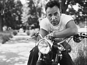 Folk Rock Framed Prints - Bruce Springsteen Portrait on Bike Framed Print by Sanely Great