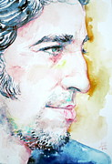 Bruce Springsteen Painting Prints - BRUCE SPRINGSTEEN PROFILE portrait Print by Fabrizio Cassetta