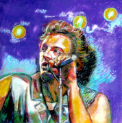 Violet Art Pastels Prints - Bruce Springsteen Print by Stan Esson