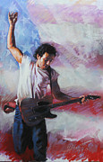 Songwriter Mixed Media Metal Prints - Bruce Springsteen The Boss Metal Print by Viola El