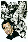 Musicians Mixed Media Originals - Bruce Springsteen Through the Years by Ken Branch