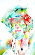 Bruce Springsteen Painting Prints - Bruce Springsteen Watercolor Portrait Print by Fabrizio Cassetta