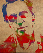 Bruce Springsteen. Posters - Bruce Springsteen Watercolor Portrait on Worn Distressed Canvas Poster by Design Turnpike
