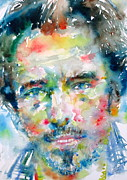 Springsteen Painting Posters - Bruce Springsteen Watercolor Portrait.1 Poster by Fabrizio Cassetta