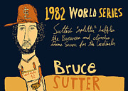 Hall Of Fame Painting Originals - Bruce Sutter St Louis Cardinals by Jay Perkins